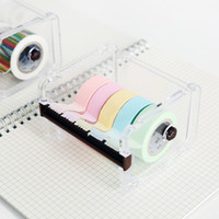 adhesive tape cutter - Simple Fashion Transparent Adhesive Tape Dispenser Office Desktop Scotch Tape Holder With Tape Cutter