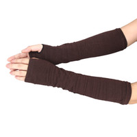 Wholesale Practical Design Winter Wrist Arm Hand Warmer Knitted Long Fingerless Gloves Mitten For Women
