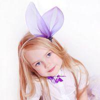 purple black hair color - 2016 Exaggerate Bunny Ear Tulle Girls Hair Clasp Cute Princess Hair Bands Color Hair Sticks Hair Accessories KB418