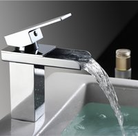 Wholesale Bathroom waterfall faucet Brass Made Chrome surface one handle Deck Mounted Waterfall tap Basin sink mixer Torneira Banheiro
