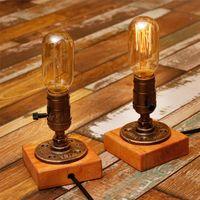 Wholesale Desk Lamp E27 Coffee Table Light Bar Lamparas Escritorio Luminaria de Mesa Loft Vintage Edison Bulb Table Lamp Water Pipe LED Dimming Light