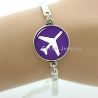 aviation pictures - Two pictures choices airplane pattern bracelet charming purple and black two backgrounds aviation voyage jewelry