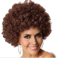 afro blue - New party clown wigs rainbow afro hairpiece children adult costume football fan wigs halloween christmas colourful explosion head wig