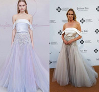 arabic tone - Hayley Paige New Red Carpet Celebrity Dresses Two Tone Sparkly Beaded Peplum Full length Arabic Dubai Off shoulder Evening Gowns