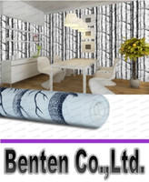 Wholesale Birch Tree pattern non woven woods wallpaper roll modern designer wallcovering simple black and white wallpaper for living room LLFA88