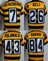 bell bee - Stitched Pittsburgh Elite football jerseys Steelers jerseys Seasons Bumble bee ROETHLISBERGER BELL POLAMALU BROWN freeship