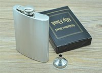 Wholesale 8 ounce oz Stainless Pocket Liquor Red Wine whiskey Round Hip Flask Metal Set Gift AAAADL hot sale