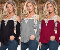 Wholesale New Women s Long Sleeve Shirt Casual Loose V Neck Lace Sexy off shoulder Tops Lady T Shirt Size S XL