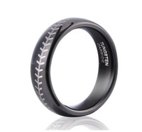 baseball wedding gifts - Small Sports Symbology Baseball Tungsten Ring for your MLB season Plated IP Black Ring MM Size