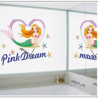 Wholesale 50pcs Mermaid Cartoon Removable Vinyl Decal Wall Sticker Mural Art Kid Room Home Water proof Decorative Wall Decals For Kid Rooms