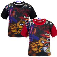 Wholesale Cartoon FNAF Five Nights At Freddy Fazbear Bonnie Foxy Chica Cosplay T shirt Girl Boy Summer Tee Kids Tops
