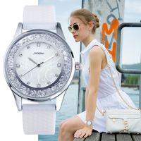 Wholesale SINOBI Fashion Diamond Women Wrist Watches Silicone Watchband Ladies Geneva Quartz Clock Female Wristwatch Montres Femmes