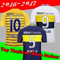 Wholesale BOCA Soccer Jersey Carlos Tevez Morbi Jersey camisas de futebol Riquelme Gago Gigliotti Fotball shirt Carlitos Boca Juniors