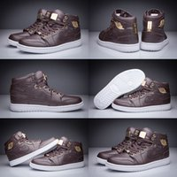 baroque brown - With shoes Box Hot Sale Retro I High Pinnacle Baroque Brown Croc Metallic Gold Men Basketball Sport Sneakers Kids Shoes