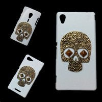 Wholesale Cover for Sony Xperia E1 E3 E4 E4g M2 S50H M4 Aqua C4 C5 Ultra T2 T3 Punk Rivet Stud Retro Bronze Skull Skeleton Hard Back Protective Case