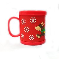 plastic cup with lid - New Style Santa Claus Plastic Coffee Mugs Kids Cup Red Embossed Christmas Sleigh Water Tumbler With Lids Drinkware
