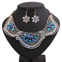 atmosphere paintings - Alloy diamond painting flowers hollow sleeve chain sets of chain necklace earrings elegant atmosphere suits and retail