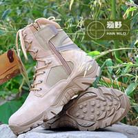 al por mayor hombres botines-Botas del tobillo del otoño Delta Hombres táctico militar botas de combate del desierto al aire libre del ejército Montañismo Viajes Botas zapatos de cuero botas de invierno