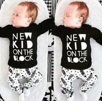 america baby clothes - Hot fashion new baby clothing piece set cute letter leaf print America INS M M M T T T Toddler home clothes t pants drop shipping