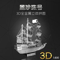 Wholesale 3D Metal Puzzles The Black Pearl Sailing ship D Pirates of the Caribbean DIY Puzzle Toys Children Education Toys quebra cabeca