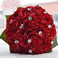 Wholesale 3color Rose flower white Pink Red Color Bridal Bridesmaid wedding bouquet artificial flower rose crystal bridal bouquets