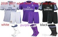 adult football pants - 20162017 adult kit Soccer Jerseys Coat pants socks football Real Cristiano Ronaldo Bale James Kroos Benzema Soccer uniform Madrid Jersey