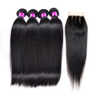 Cheap Malaysian Human Hair With Closure 10A 4 Pcs Malaysian Straight Lace Closure With Bundles Peruvian Straight Hair With Closure