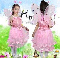 Wholesale lovely children dance performance stage costume dress with butterfly wing head band stick for halloween JQ