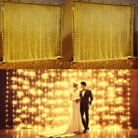 Wholesale IMPopular Ft Ft LED bulbs Christmas Curtain String Fairy Wedding Lights Led Curtain Lights for Home Windows Decorations