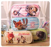 Wholesale 4 Colors Zootopia multi function Stationery Bag Large Capacity Zootopia Pencil Bags Students Stationery Bags Cosmetic Bag High Quality