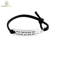 amazon leather bracelets - Multi styles new good quality silver ID inspirational bracelets jewelry women and men Amazon hot sell black leather