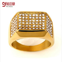 Wholesale 2016 New Steel Square Side Paved Ring Iced Out CZ k Gold Tone Wedding Gold Rings Hip Hop Rock Jewelry Bar Club For Men Women Birthday Gift
