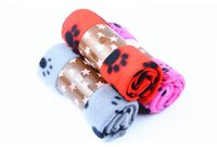 Wholesale 2016 Cute Pet Dog Cat Blanket Paw Prints Soft Warm Fleece Mat Bed Cover