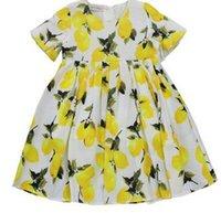 Cheap Retail New Princess Girls Dress Lemon Printed Summer Dress Fruit Children Clothing Dresses Party Dress Cotton Short Sleeve Dresses A5489