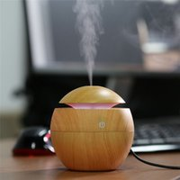 Wholesale Mini Portable Mist Maker Aroma Essential Oil Diffuser Ultrasonic Aroma Humidifier Light Wooden USB Diffuser For Car Home Office