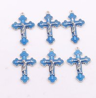 antique crucifixes - Antique Silver Enamel Imri Crucifix Cross Spacer Charm Beads Pendants Alloy Handmade Jewelry DIY L424 x33 mm Colors