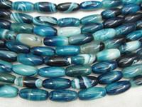 2Strands 13x30mm azul ágata de la piedra preciosa de ónix barril arroz marrón negro verde blanco granos de la joyería collar negro venas