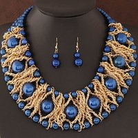 bead exclusive - Trendy Jewelry Sets For Women Gold Plated African Beads Jewelry Set Party Accessories Necklace Earrings Set Exclusive sales