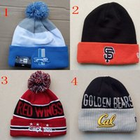 Wholesale POM Beanies hats Sport Team Cuff Knit With Pom Beanies hat basketball Beanie caps baseball Beanies hats Thousands of Mixed style order