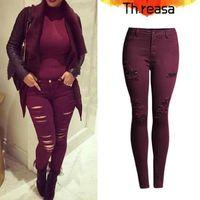 Wholesale 2016 new Plus Size XL Women s Popular Burgundy beggar hole Elastic Denim Jeans Skinny Pencil Pants high waist ripped jeans for women