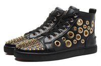 Ankle Boots ankle boots with low heel - Men Women Black Genuine Leather With Gold Spike High Top Red Bottom Casual Shoes Unisex New Hollow Out Flat loubuten Shoes