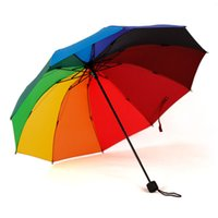 best windproof umbrella - Piece Best Seller Designers High Quality Pongee Steel Windproof Rainproof Folding Pencil Colorful Rainbow Rain Umbrella