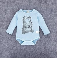 Wholesale 2016 New Autumn Infant Baby Climb Clothes Triangle Rompers Kids Boys Girls Long Sleeve Cartoon Animal One piece Rompers Children Clothing