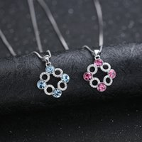 beautiful jewellry - FGJL fashion jewelry sterling silver shining crystal circles and square pendant for necklace beautiful lady jewellry