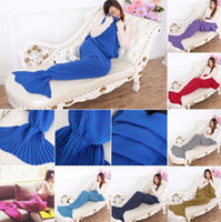 Wholesale Mermaid Tail Blanket Super Soft Hand Crocheted cartoon Sofa Blanket air condition blanket siesta blanket X90cm LJJL166