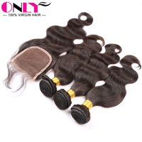 Wholesale Malaysian Body Wavy Weaves Virgin Human Hair With Lace Closure Bundles With Closure Malaysian Virgin Hair Weft Wavy Weaves With Closure