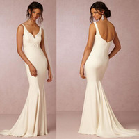 Wholesale Simple Lace Appliques Belt Wedding Dresses Elegant V Neck Sexy Hollow Back Mermaid Bridal Gowns