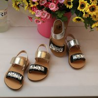 baby girl gold sandals - Girls Sandals fashion new kids gold silver Rhinestone Sandal Shoes children flat shoes girls princess shoes baby kids sandals A8372