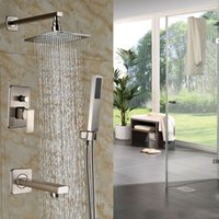 bathtub shower units - Wall Mount Brushed Nickel Shower Faucet Set Bathtub quot Rainfall Shower Mixer Shower Units