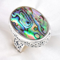 asian table - 2016 Rotary Table Tapered Bearing Rodamiento Roller Extravagant Silver Natural Abalone Shell Charms Rings R0036